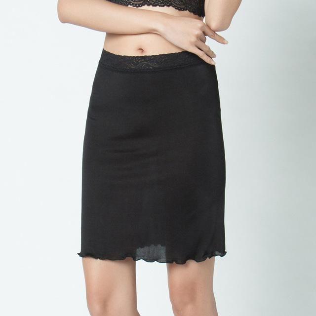 Silk Sanctum 100% Pure Silk Women's Half Slips Women Underskirt Female Sexy Lace Petticoats Waist Elastic Femme Black Solid Slip For Woman