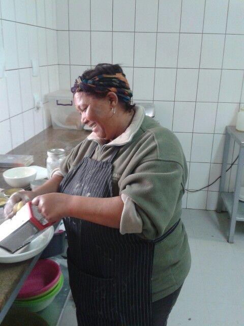Safari cook making dessert