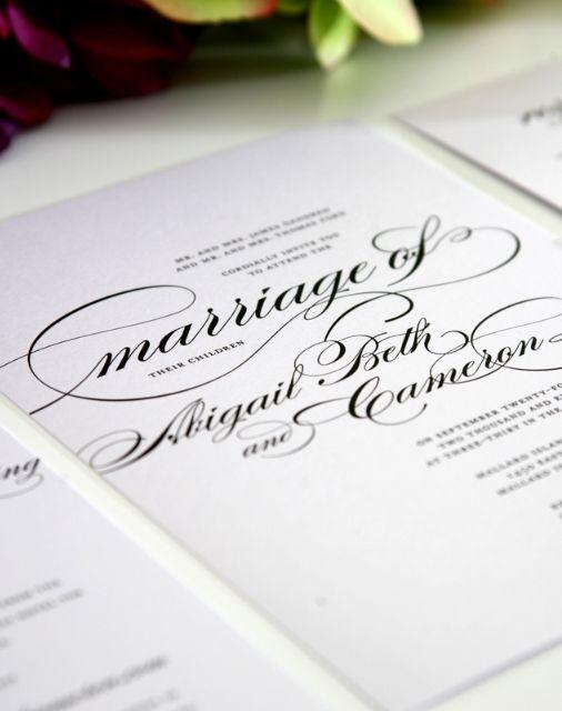Gorgeous script wedding invitations