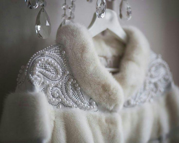 pearls fur coat
