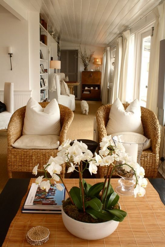 I love the look of two wicker chairs instead of another love seat or sofa