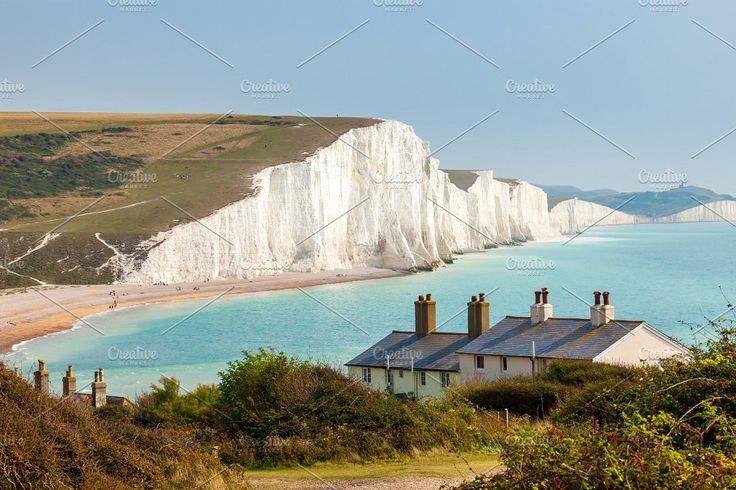 Seven Sisters Chalk cliffs from Seaford Head by Ian Woolcock Photography on @creativemarket