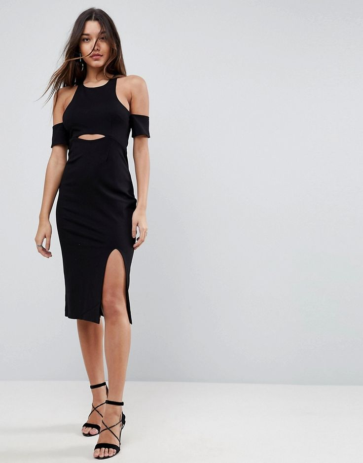 FINDERS KEEPERS LEON CUT AWAY BODYCON DRESS - BLACK. #finderskeepers #cloth #