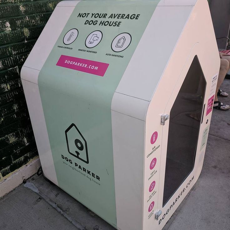 This is an air conditioned doghouse you unlock with an app so that your dog can wait comfortably outside a Brooklyn ice cream shop. Honestly can't tell if I love it or hate it.