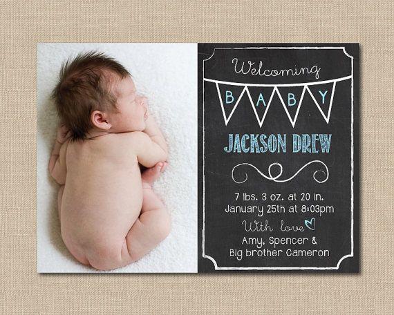 Chalkboard Baby Announcement Photo Digital File by OhPrettyBoston, $14.00