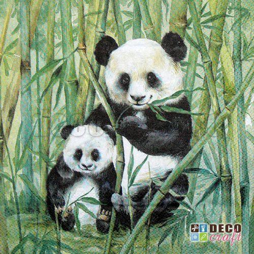 Servetele cu animale : Servetele - Panda cu pui - 33x33cm, 4 buc