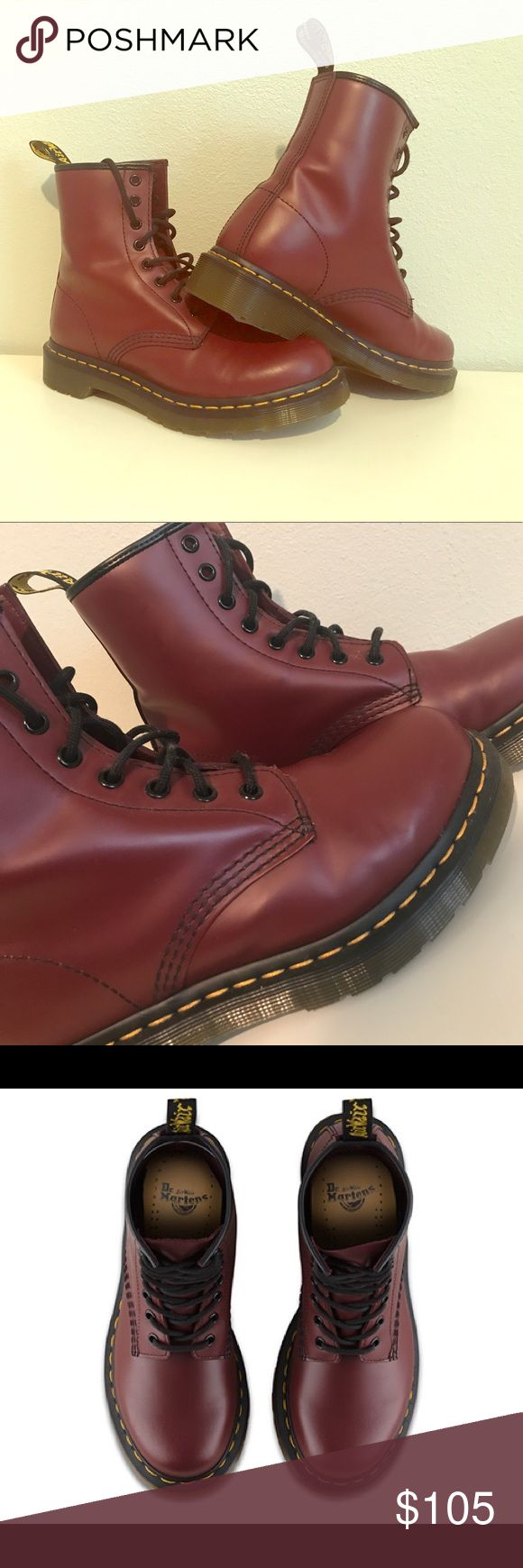 Dr. Marten's Cherry Red Boots - Barely Worn! Women's 1460 Smooth Cherry Red (beautiful maroon) Dr. Marten's, worn only a handful of times. Size 7. Dr. Martens Shoes Combat & Moto Boots