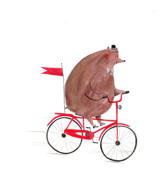 Cute bear on a bike by #AlexTSmith