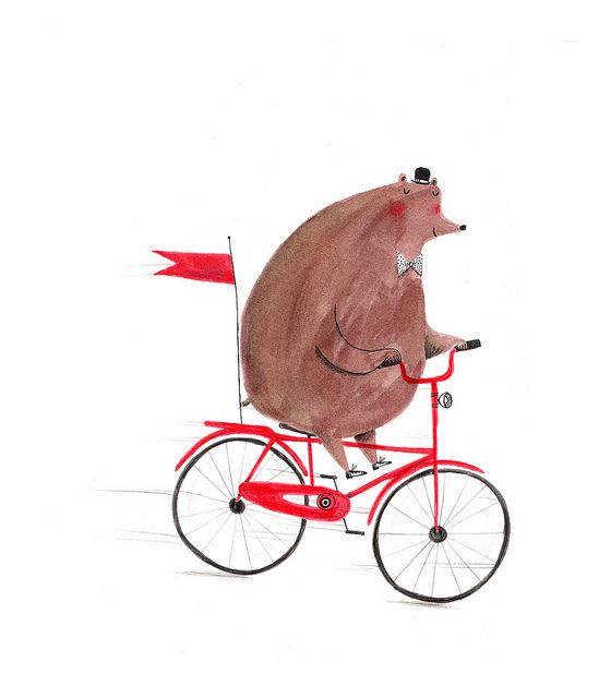 Cute bear on a bike by #AlexTSmith