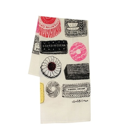 Designed by Charlotte Farmer in 2010, this tea towel features all those biscuits we all love. 48cm x 78cm 52% linen 48% cotton. Available from www.newhousetextiles.co.uk