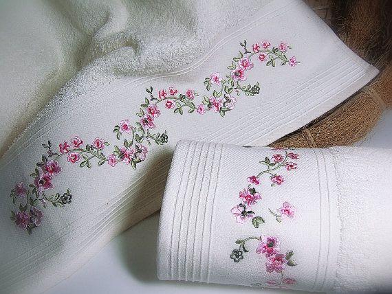 Bath Towel Cream bath towel with embroidery by ADYALI on Etsy, $19.90