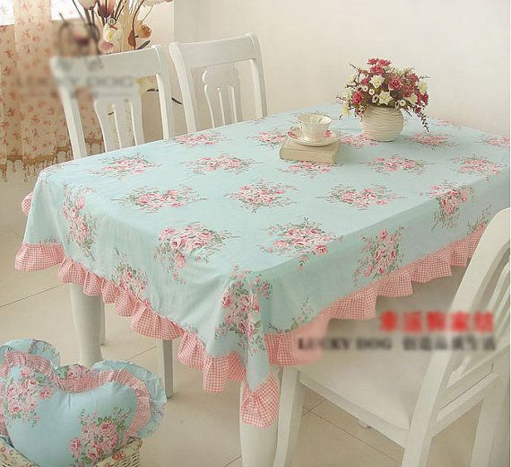 Shabby Chic Cottage Farmhouse Floral Table Cloth Cover Blue and Pink with Ruffles Cotton