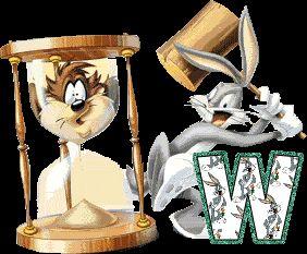 Alfabeto animado de Bugs Bunny con reloj de arena.   Oh my Alfabetos!