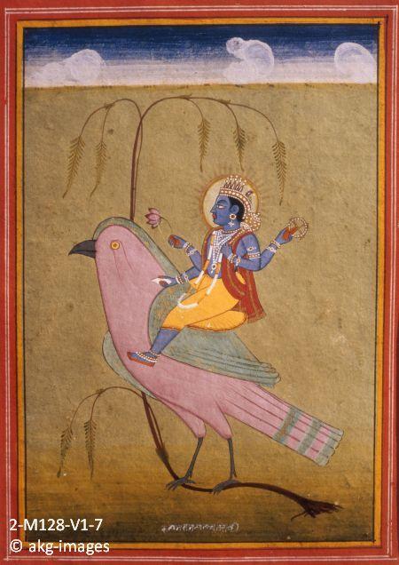 2-M128-V1-7 Vishnu on Garuda from a 17th-century Indian miniature akg-images / Jean-Louis Nou
