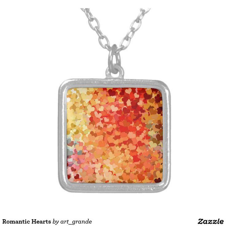 Romantic Hearts Square Pendant Necklace
