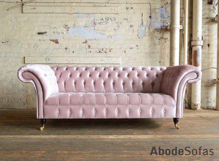 Modern British Handmade Geneva deep buttoned Chesterfield #Sofa, shown in a Plush Dusty Pink Smooth Velvet. 3 seater | Abode Sofas