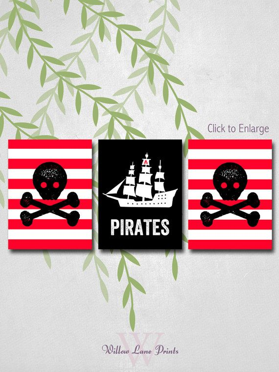 Pirate Room Decor, Boys Bedroom Decor, Pirate Prints, Pirate Wall Art, Baby boys room, boy nursery decor on Etsy, $43.00