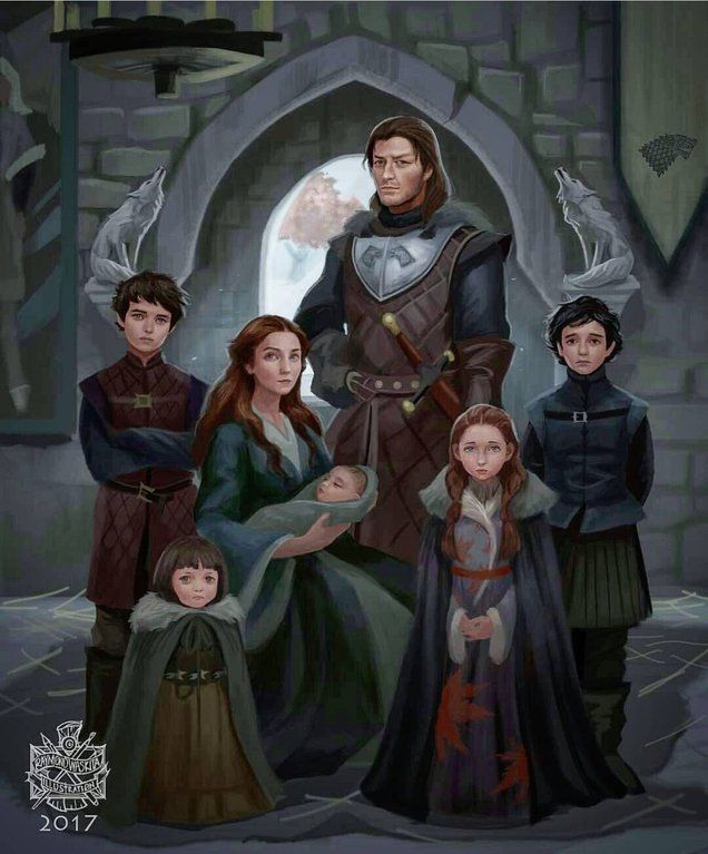 No Spoilers A Stark Family Portrait Winter Is Coming Gameofthrones Stark Family Lannister Art Game Of Thrones Art
