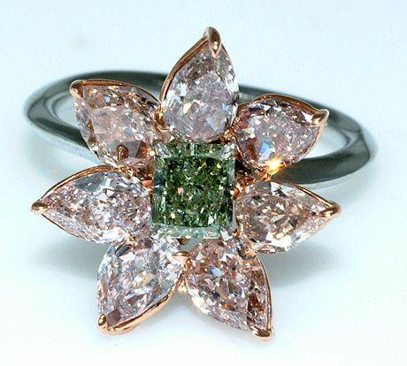 green diamonds Diamond | Green Diamond Flower Ring - Gemstone Jewelry Image