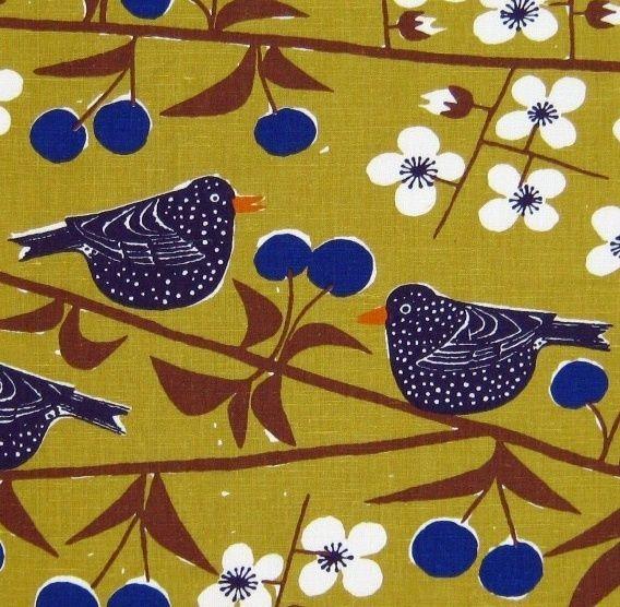 scandinavian fabric Cherry Orchard 50s 60s vtg Marianne Westman DIY heals era #almedahls #birdprint