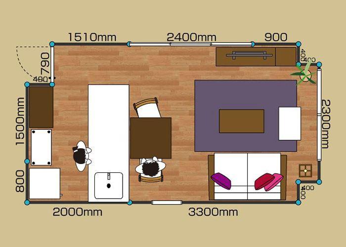 リビングダイニングルーム 1ldk 8畳 A 2d レイアウト インテリア 収納 Ldk レイアウト
