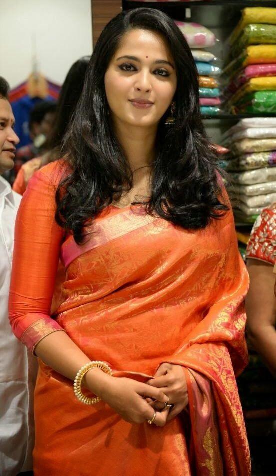 Anushka Shetty Latest Hot Photos In Orange Saree - Tollywood Stars