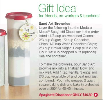Great Gift Idea!!!  Shakin & Bakin Foodie Blog: Tupperware - Sand Art Brownies Gift Mix Project And Recipe.  Contact me to book your online party or simply place an order