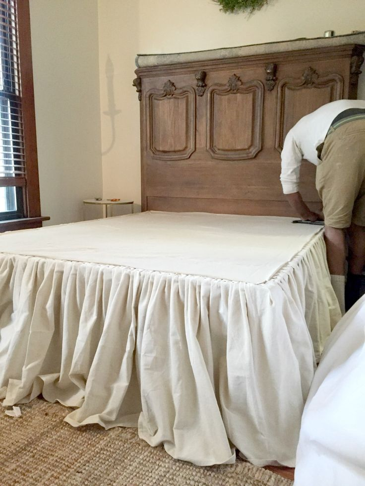 DIY:  How to Make a No-Sew Drop Cloth Bed Skirt – using drop cloths and upholstery tacks, this skirt was pleated and nailed - instead of sewn - Beginning in the Middle