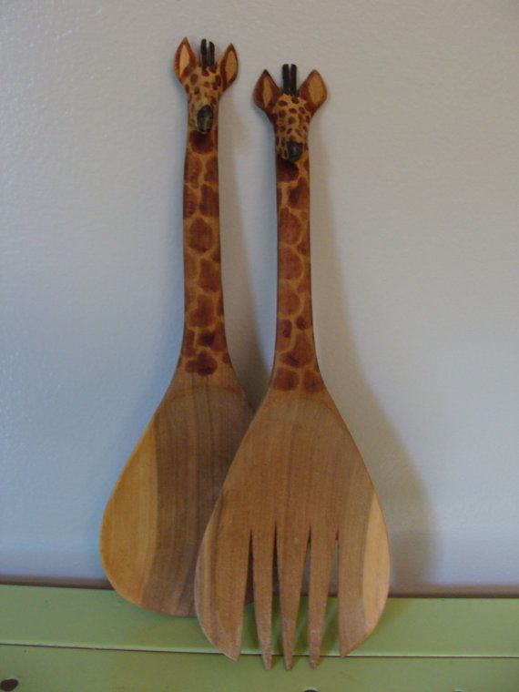 Vintage Giraffe Carved Wood Serving by TheMenagerieBoutique