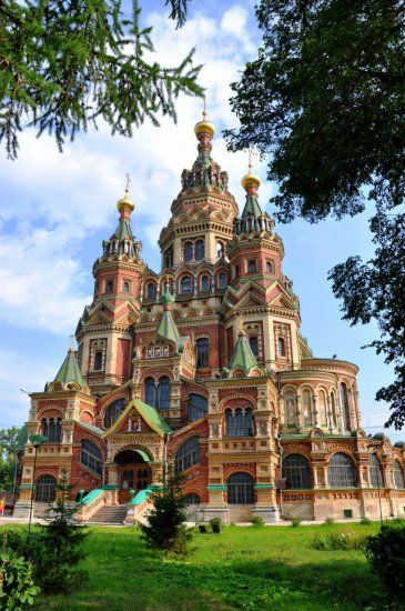 Sts. Peter and Paul Cathedral in Petergof, Saint Petersburg, Russia (1904).