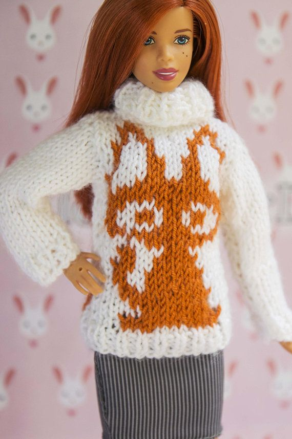 ad02189a48 Doll clothes. Barbie sweater. Handmade white brown knitted sweater with a  cute cat pattern for original