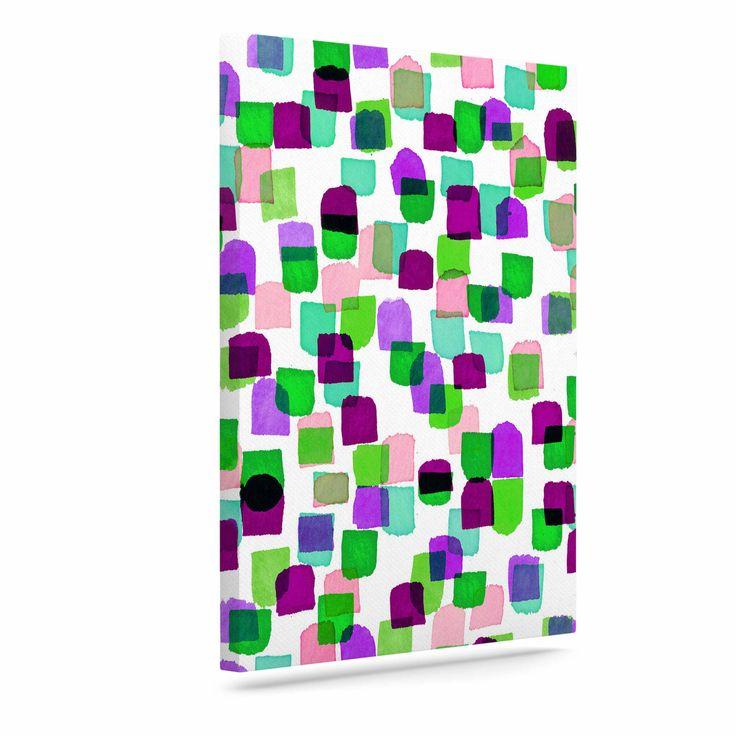 "Ebi Emporium ""Retro Mod Dots 3"" Green Purple Canvas Art"