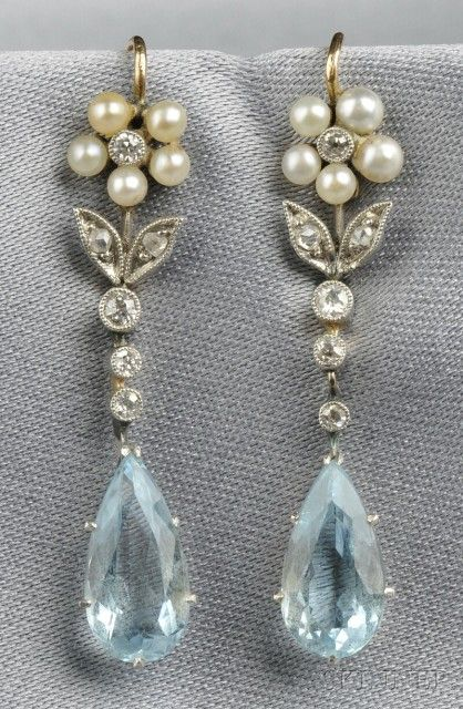 Aquamarine, Seed Pearl, and Diamond Earrings