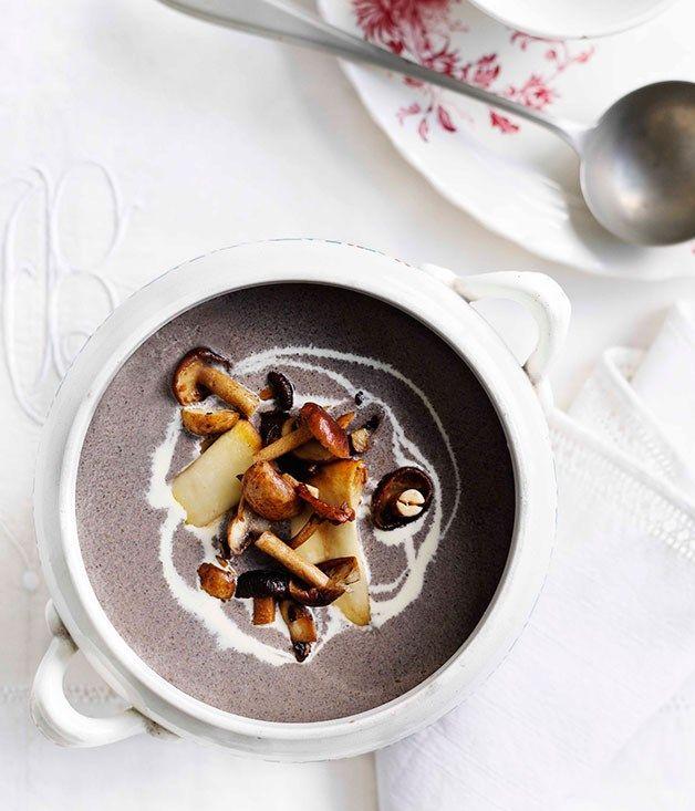 Australian Gourmet Traveller fast French recipe for mushroom soup.