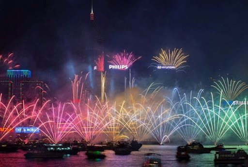 2017 NYE Fireworks in Hong Kong