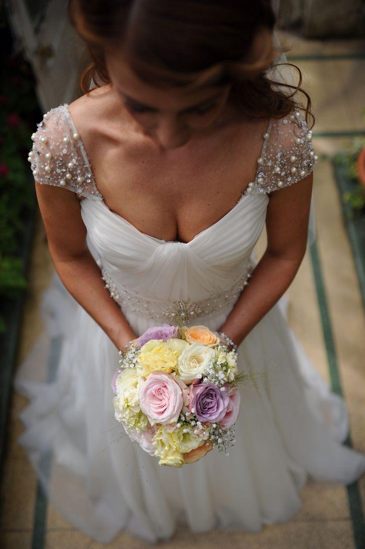 Wedding dress Christos Julianna bride wedding flowers