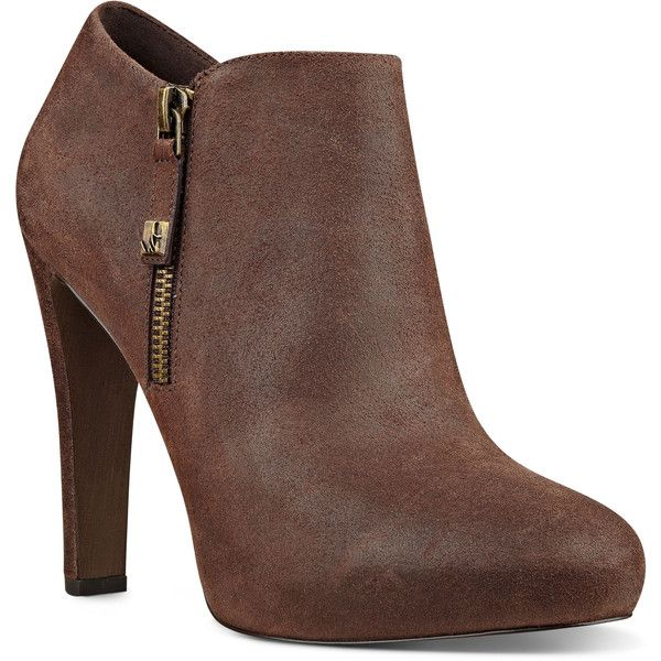 Nine West Binnie Almond Toe Booties found on Polyvore featuring shoes, boots, ankle booties, booties, dark brown leather, leather bootie, short leather boots, high heel ankle boots, leather upper boots and ankle boots