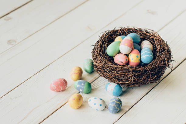 colorful easter eggs in the nest on wood table background
