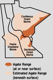 Range Map of Lake Superior Agate