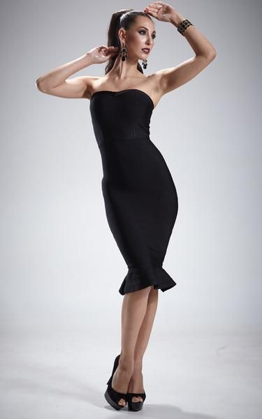 484e63cd031 Black Bandage Strapless Mermaid Dress