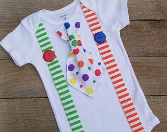 Boy Circus Clown Bodysuit - Baby Boy Tie Suspender Outfit - 1st Birthday - Stripes and Dots One-piece - Cake Smash - Photo Prop