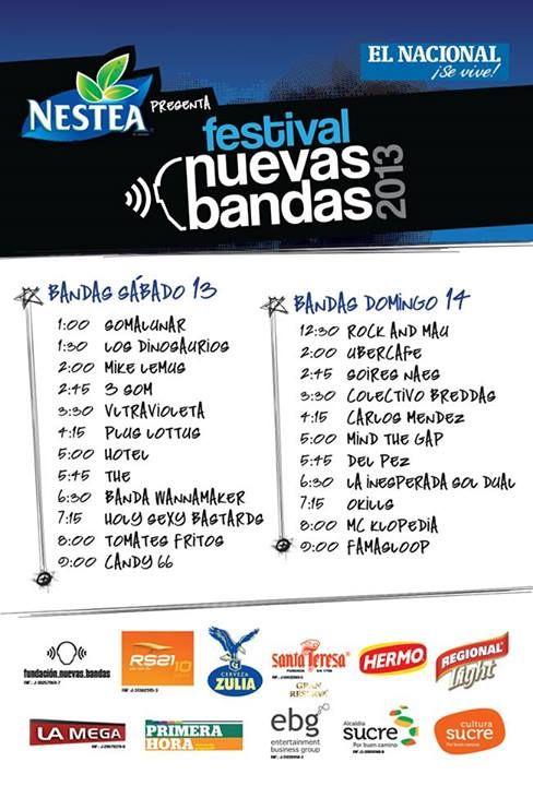 Cresta Metálica Producciones » Cartel y horarios del Festival @NuevasBandas 2013: 13 y 14 de julio en el @Diario El Nacional @EBGpro @CiComunica