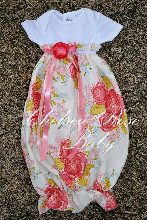 Baby Girl Onesie Dress, Baby Girl Dress, Sleep Gown, Layette, Beautiful Baby Nightgown, Newborn Sleep Sack, Baby Girl Onesie, Summer Dress. $33.00, via Etsy.