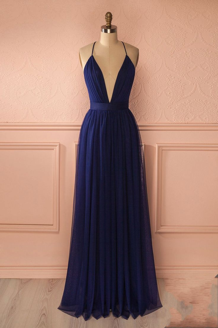 Navy Prom Dress, Sexy V Neck Backless Prom