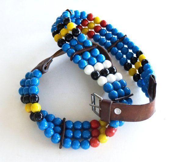 Vintage Beaded Belt Glass Beads  Leather Trim Red Blue Black