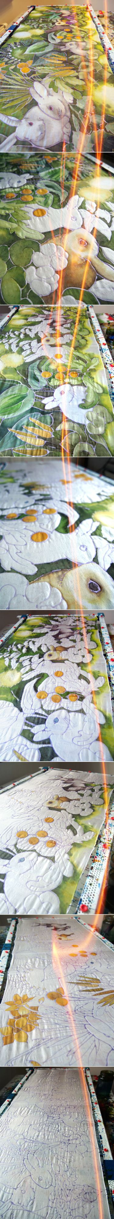 Process of painting the Bunny scarf on silk. Done by Luiza Malinowska #minkulul