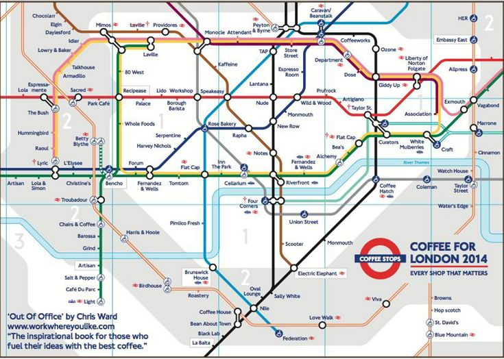 london tube map with stations renamed by the best coffee shop nearby