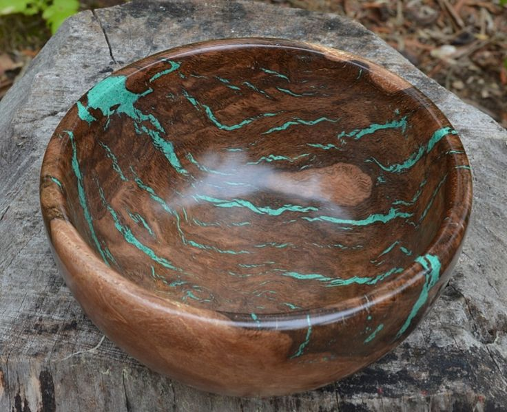 oak burl wood bowl with malachite stone inlay By Ctwoodesign