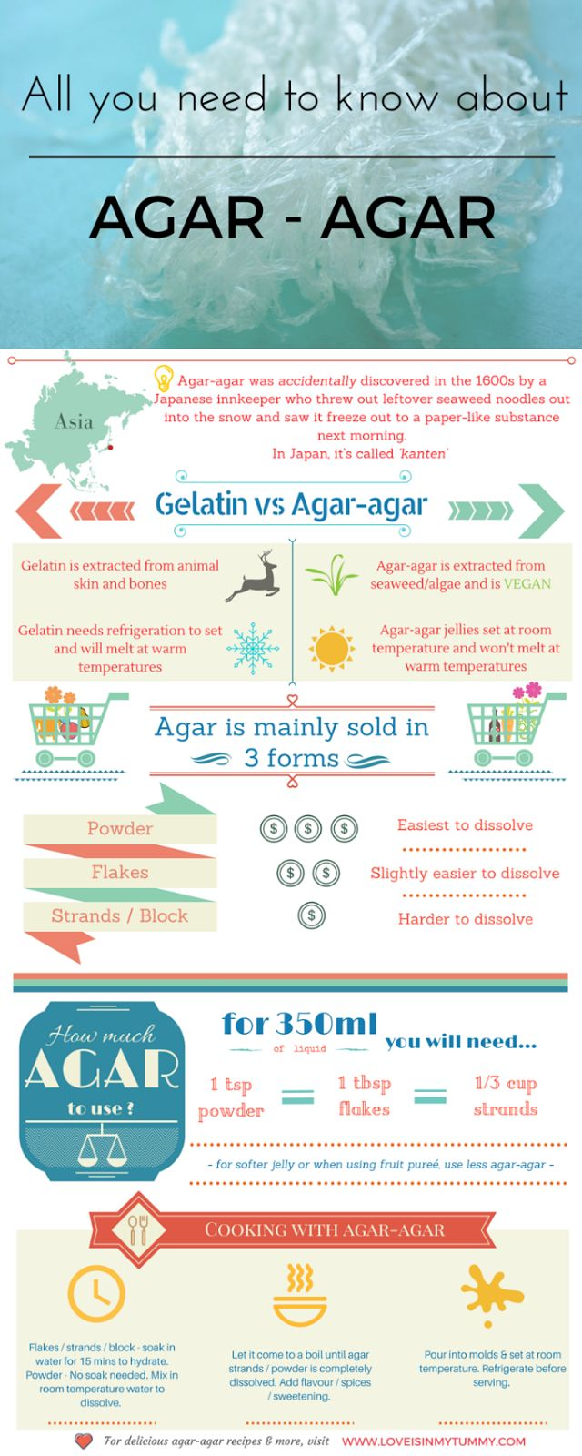 All you need to know about Agar Agar is in this infographic - Head over to the blog for more detailed information and make yourself something delicious - vegan friendly!