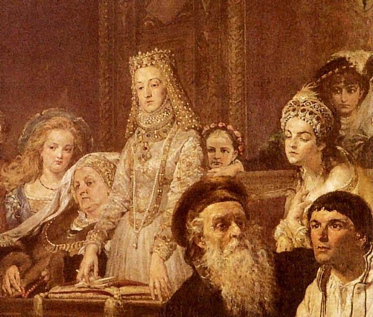 Od lewej: (?) Tęczyńska, Beata Kościelecka, Anna Jagiellonka, nieznana główka, Zofia Szydłowiecka, (?) Herburtówna. Poniżej Andrzej Frycz Modrzewski i chłop pańszczyźniany.